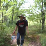 Evan walking along path